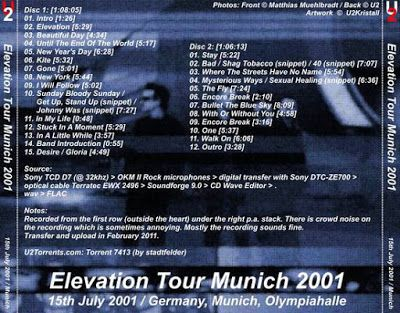 U2 -Elevation Tour -15/07/2001 -Munich -Allemagne -Olympiahalle