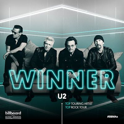 Le Joshua Tree Tour de U2 remporte les prix Top Rock Tour et Top Touring Artist aux Billboard Music Awards.