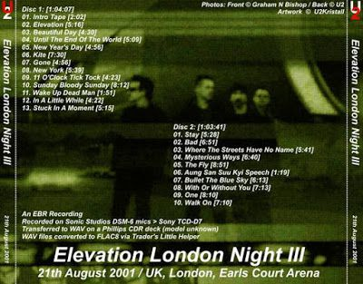 U2 -Elevation Tour -21/08/2001 -Londres -Angleterre -Earls Court #3