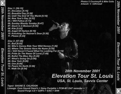 U2 -Elevation Tour -28/11/2001 -St Louis -USA -Savvis Center