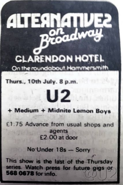 U2 -Early Days -10/07/1980 -Londres -Angleterre -Clarendon Hotel #2