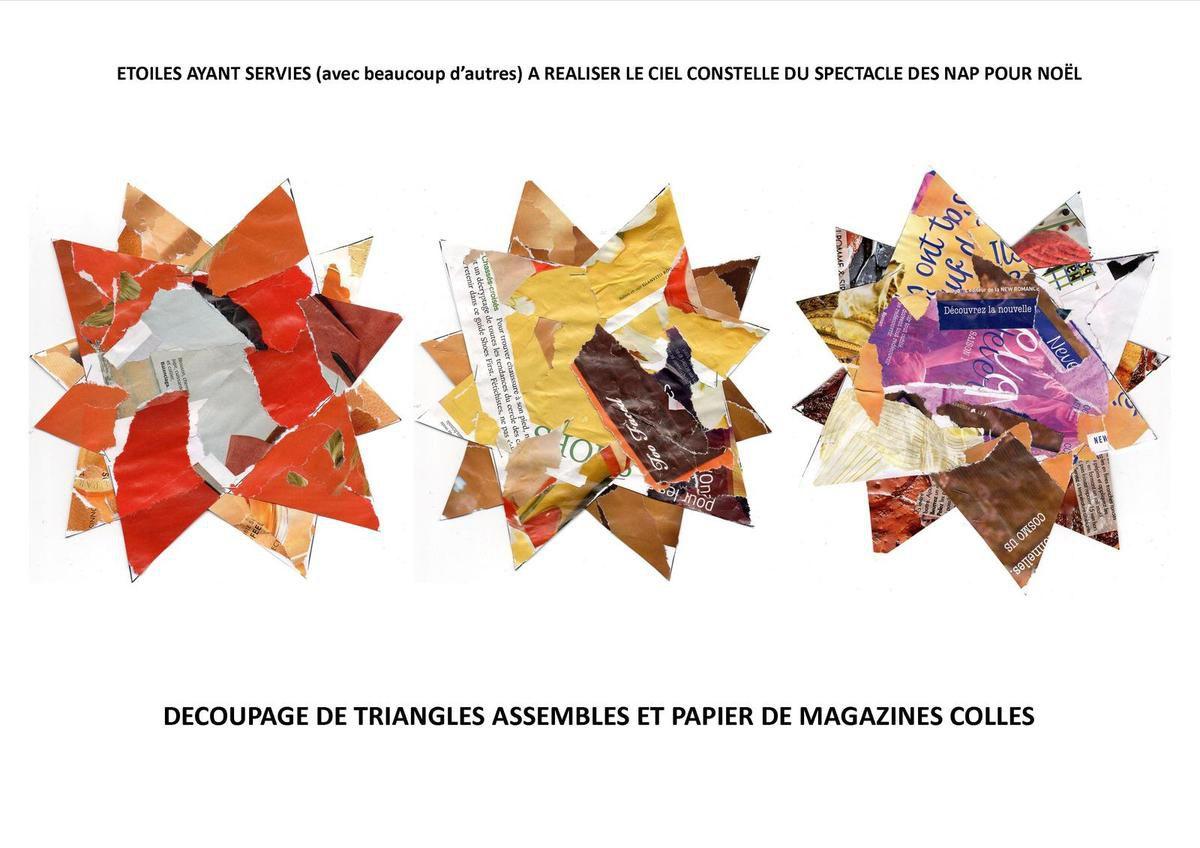 étoiles réalisées à partir de triangles assemblés ; papier déchiré et collé (magazine couleur).