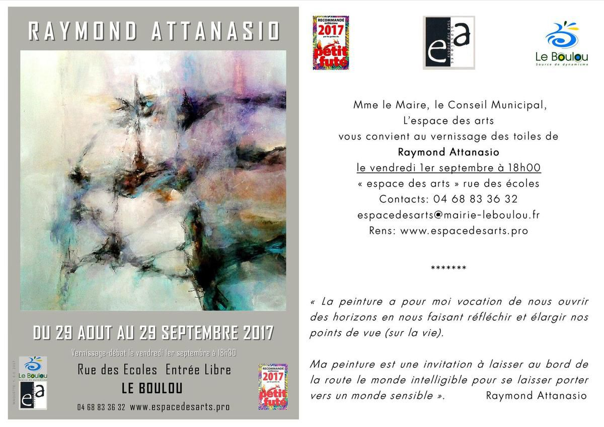 VERNISSAGE LE VENDREDI 1er SEPTEMBRE A 18H ET CONFERENCE-DEBAT A 18H30
