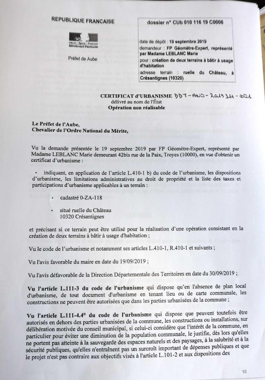 CU ruelle Château, opération non réalisable : arrêté préfectoral (3pages)