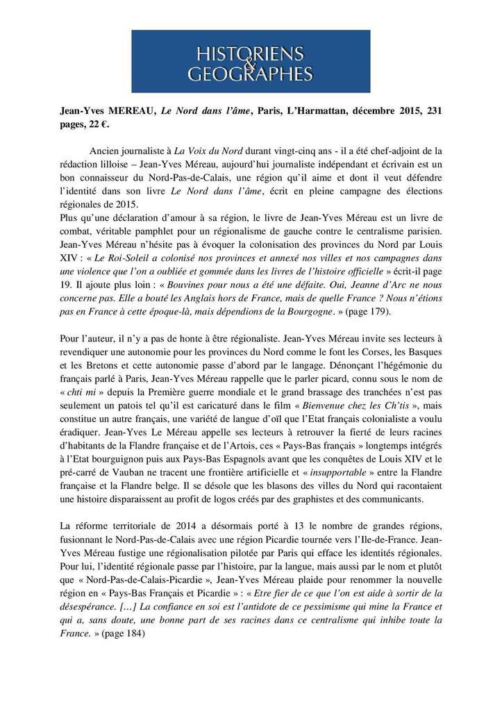Jean-Yves Méreau, Le Nord dans l'âme
