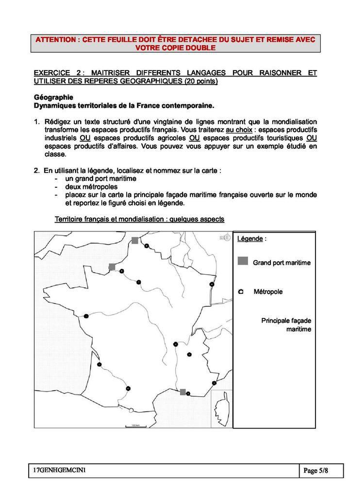 DNB Histoire-Géographie : le sujet de Pondichery de l'épreuve de 2017