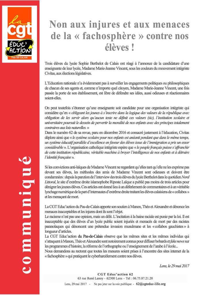 """Non aux injures et aux menaces de la """"fachosphère"""" contre nos élèves !"""