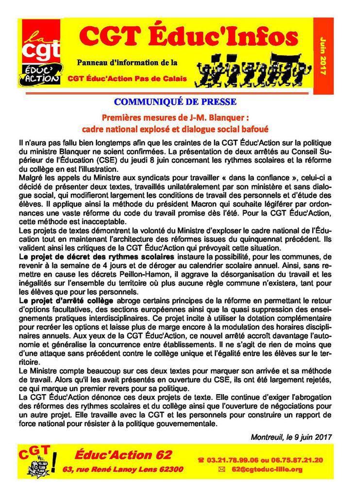 Le bulletin CGT Educ infos n° 17 de juin 2017