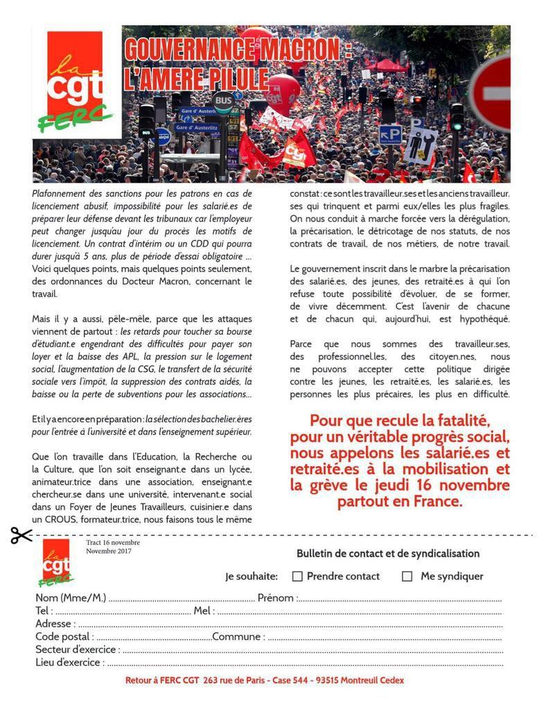 Grève du 16 novembre 2017 : le tract de la FERC-CGT