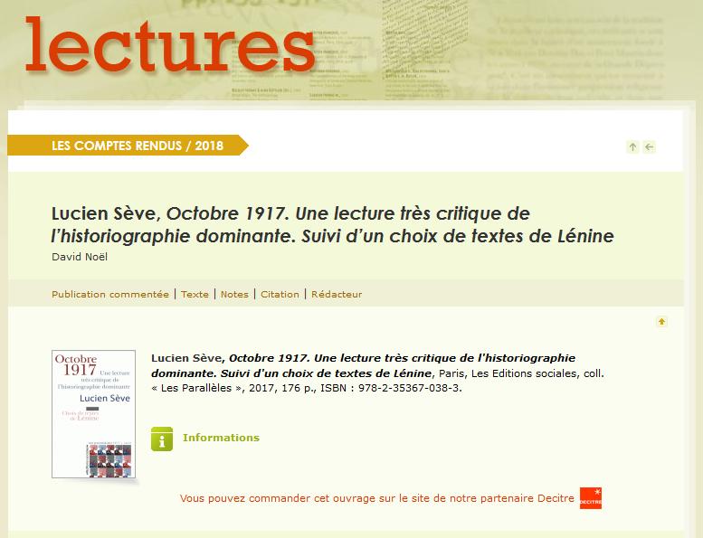 Lucien Sève, Octobre 1917. Une lecture très critique de l'historiographie dominante. Suivi d'un choix de textes de Lénine