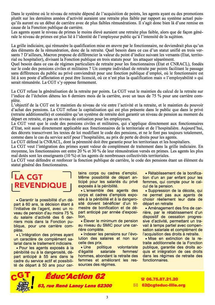 Réforme des retraites : le décryptage et les propositions de la CGT Fonction publique dans le nouveau CGT Educ'infos 62