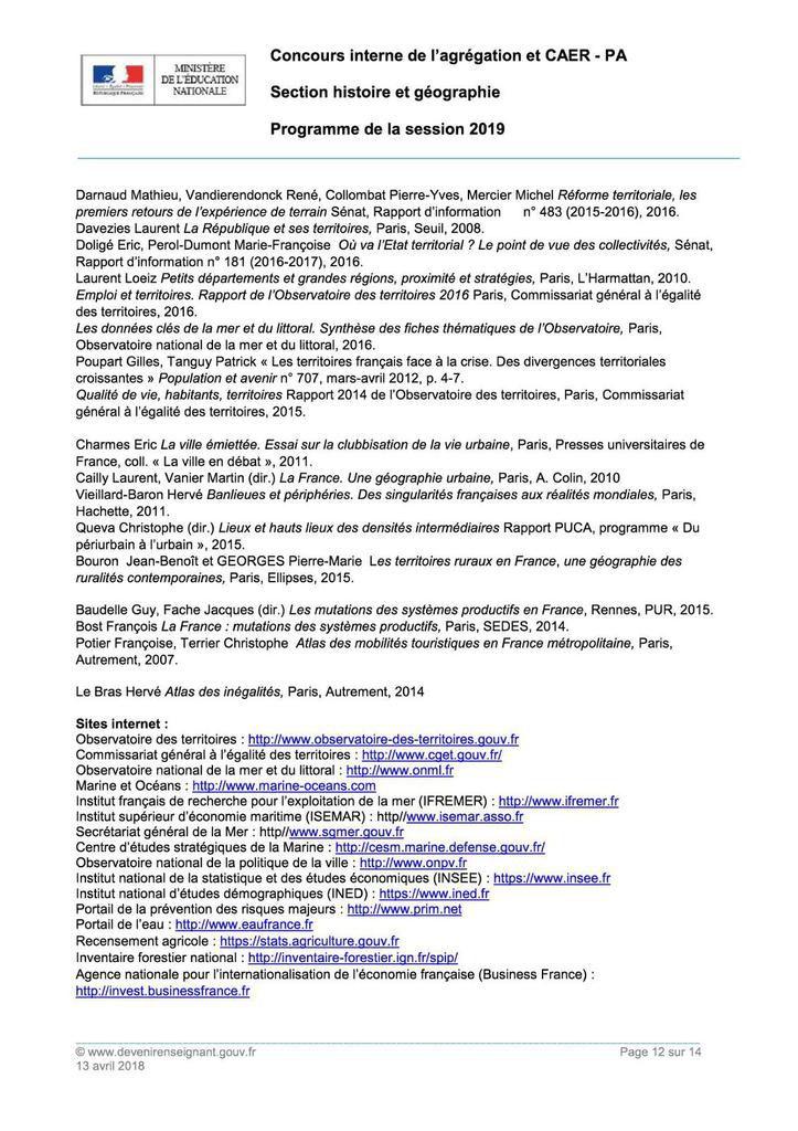 Agrégation interne d'histoire-géographie : le programme de la session 2019