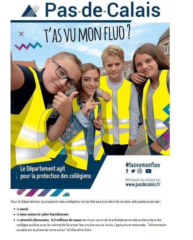T'as vu mon fluo ? Un gilet jaune offert par le département aux collégiens du Pas-de-Calais