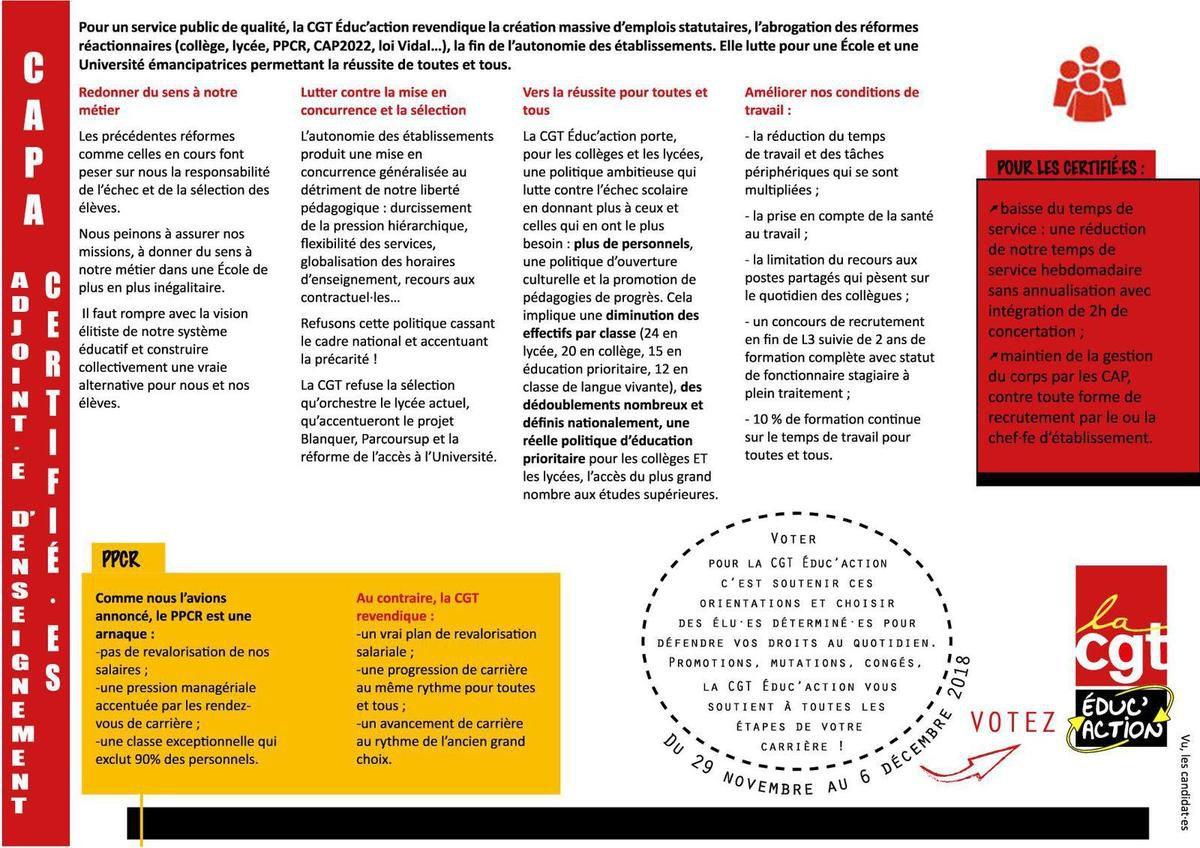 Elections professionnelles 2018 : la liste et la profession de foi de la CGT Educ'action pour la CAPA des certifiés de l'académie de Lille