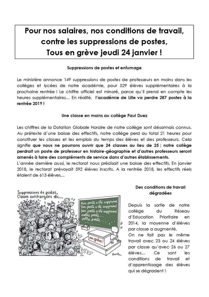 En grève le 24 janvier pour nos salaires et contre les suppressions de postes