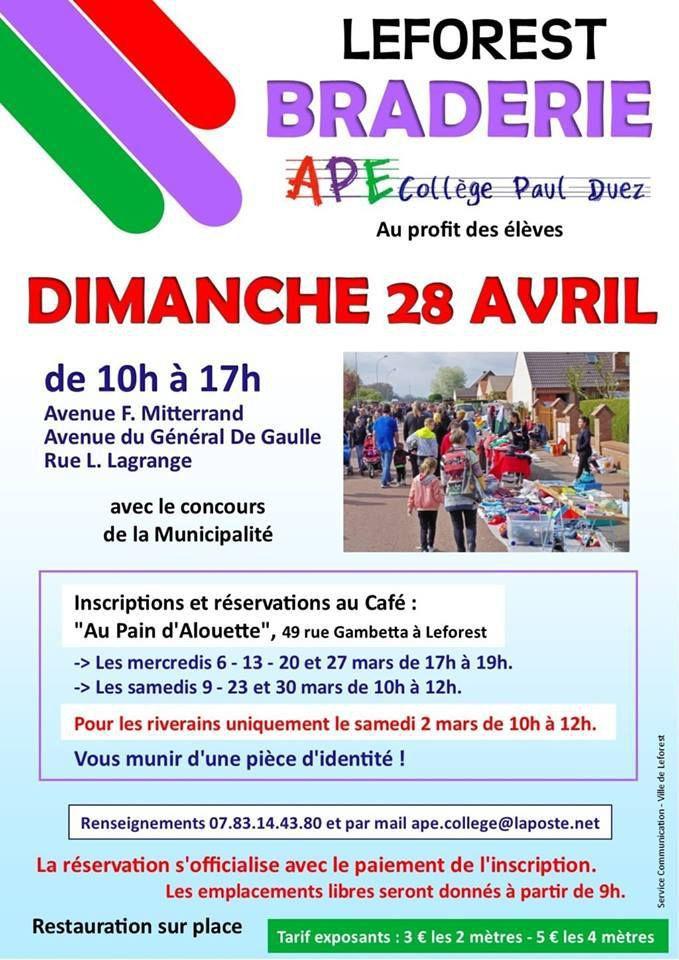 La braderie organisée par l'APE du collège aura lieu le dimanche 28 avril