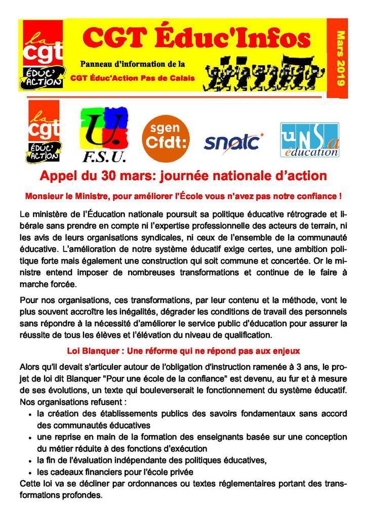Loi Blanquer sur l'école de la confiance : appel intersyndical pour une journée d'action le 30 mars