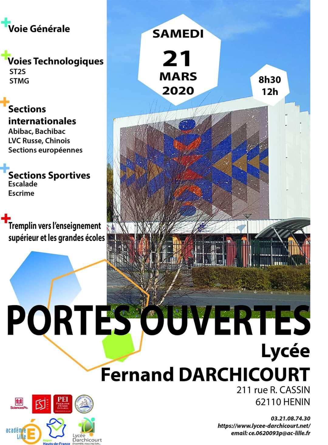 Les portes ouvertes du lycée Darchicourt auront lieu le samedi 21 mars