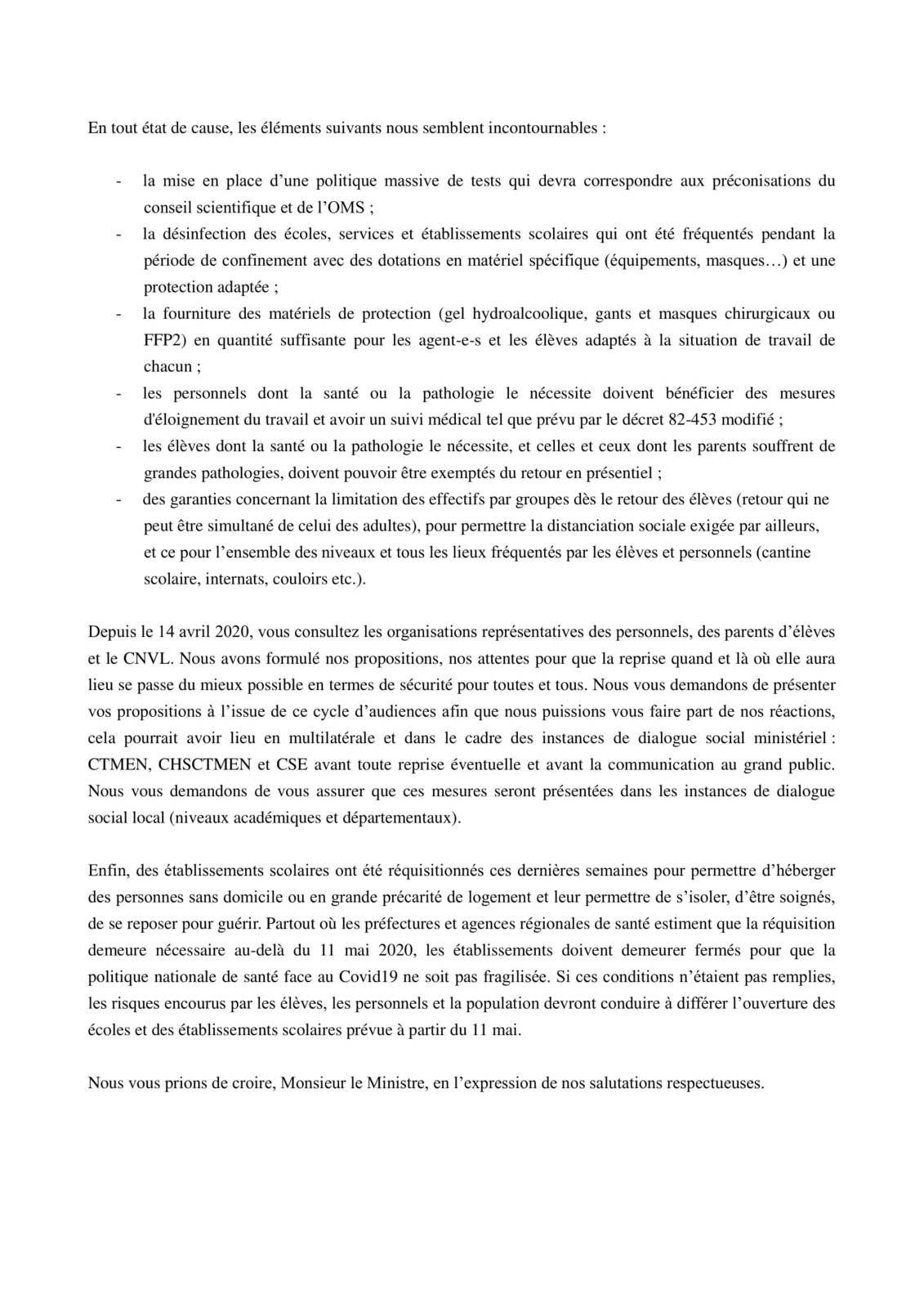 Réouverture des établissements le 11 mai : Courrier intersyndical-parents-lycéens au Ministre Jean-Michel Blanquer