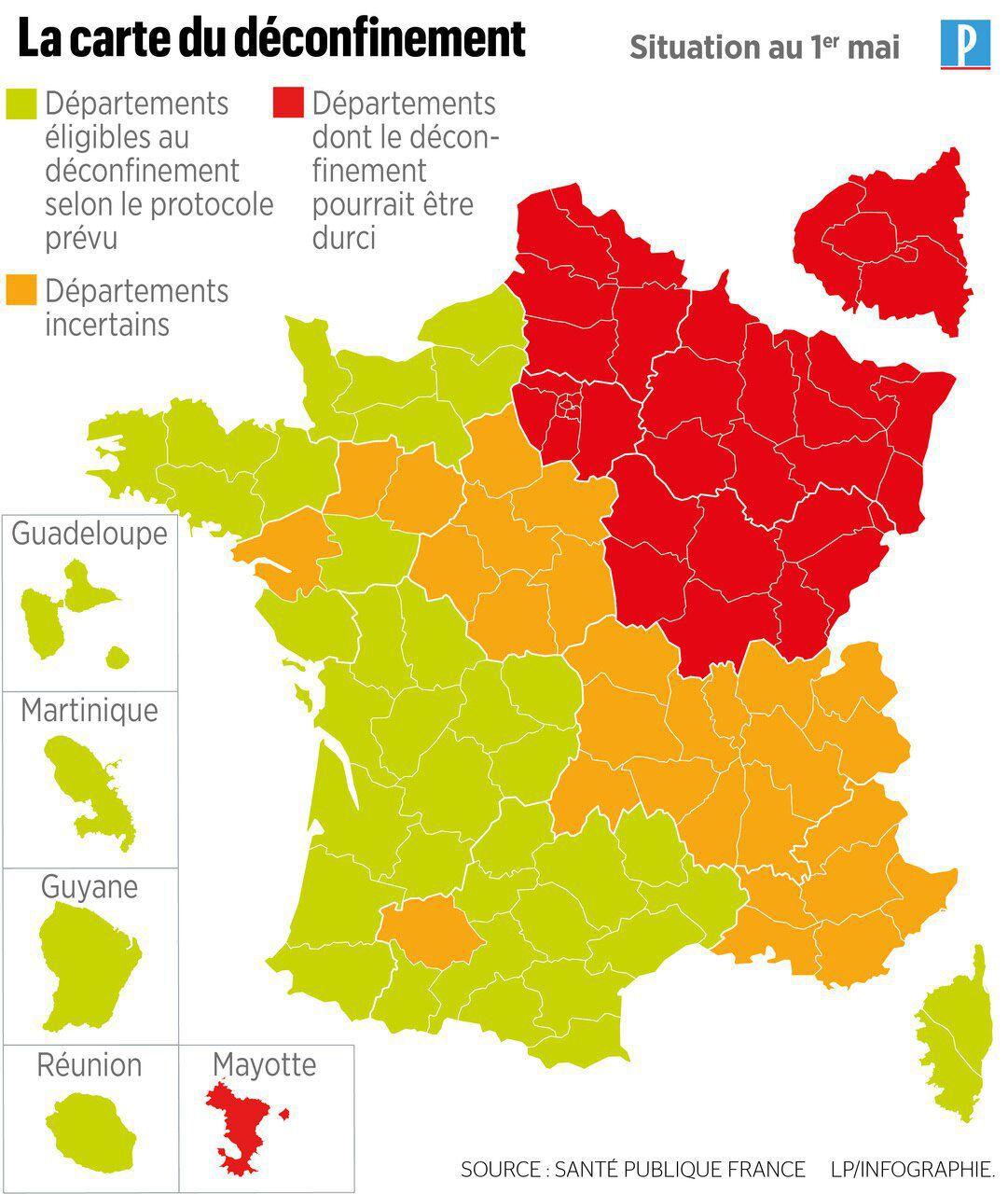 La carte du déconfinement - 1er mai 2020