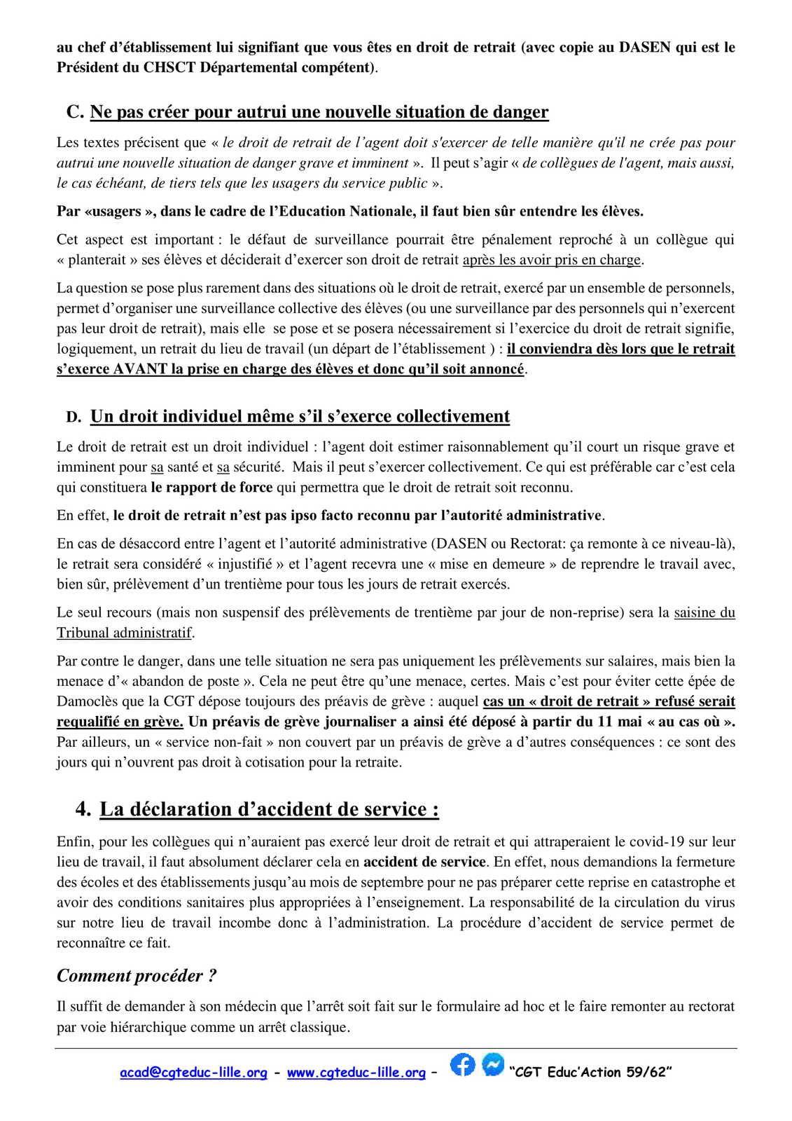 La fiche de la CGT Educ'action 59/62 sur l'exercice du droit de retrait dans les collèges et lycées