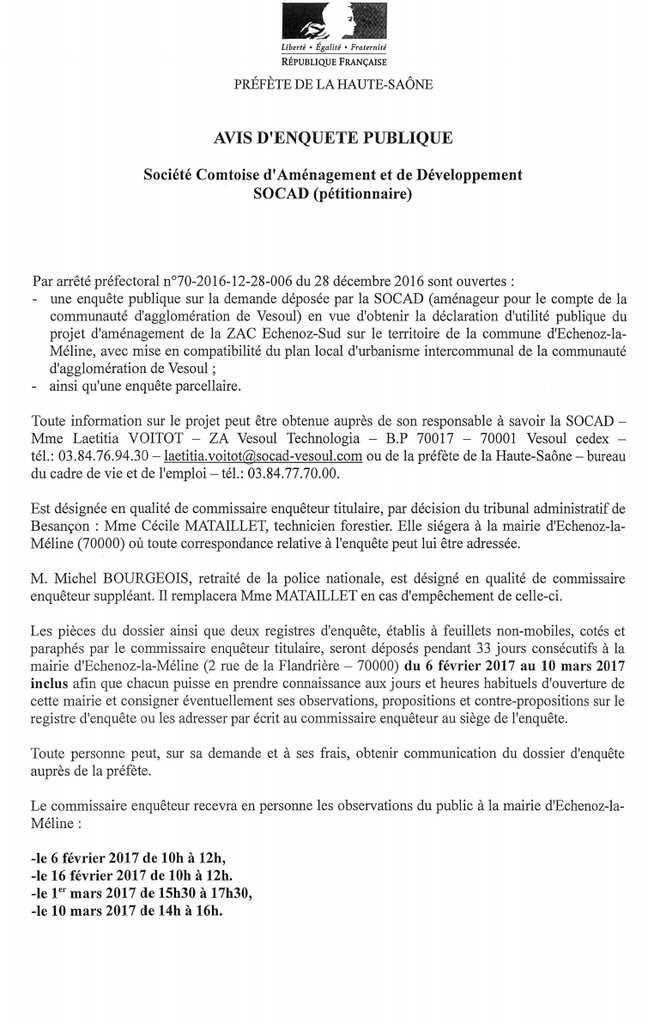 Avis d'enquête publique - ZAC Echenoz Sud