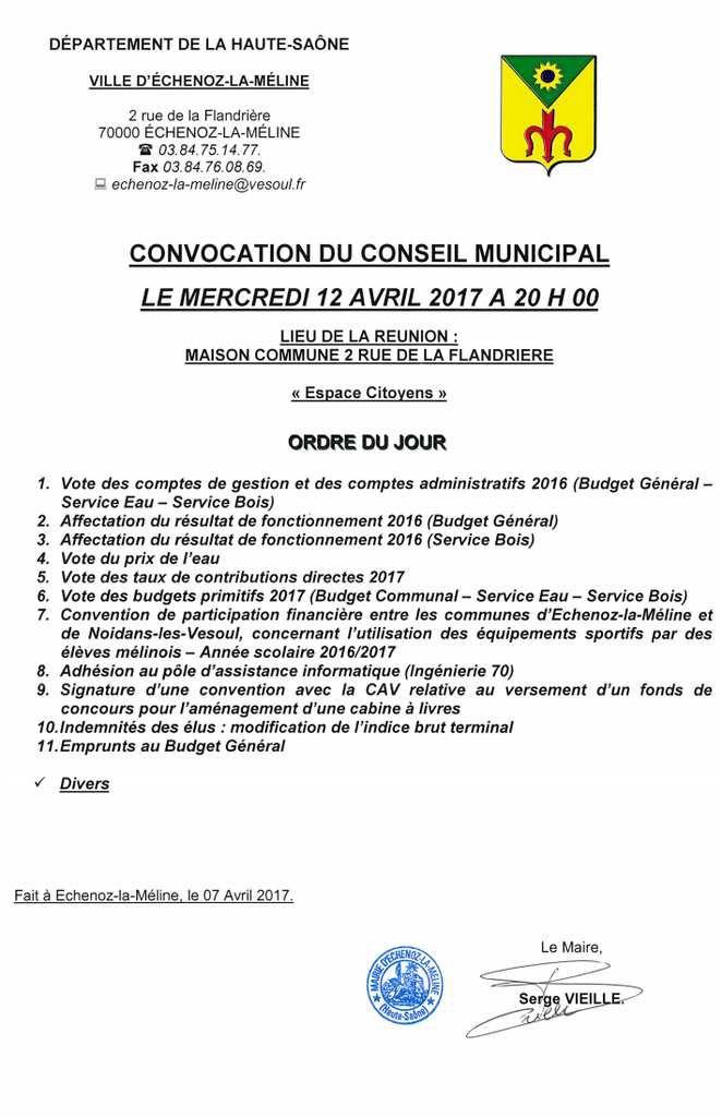 Conseil Municipal du 12 avril 2017