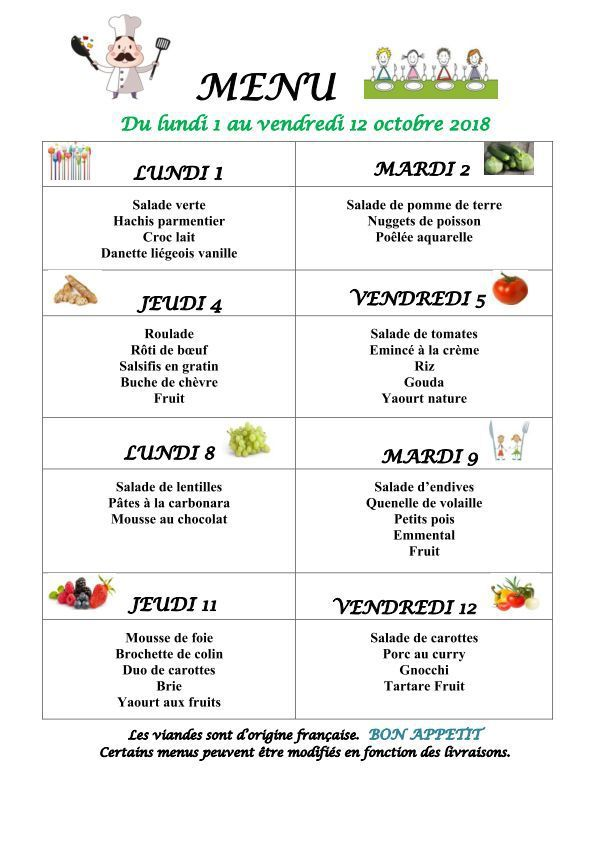 Menu du 1er au 12 octobre 2018