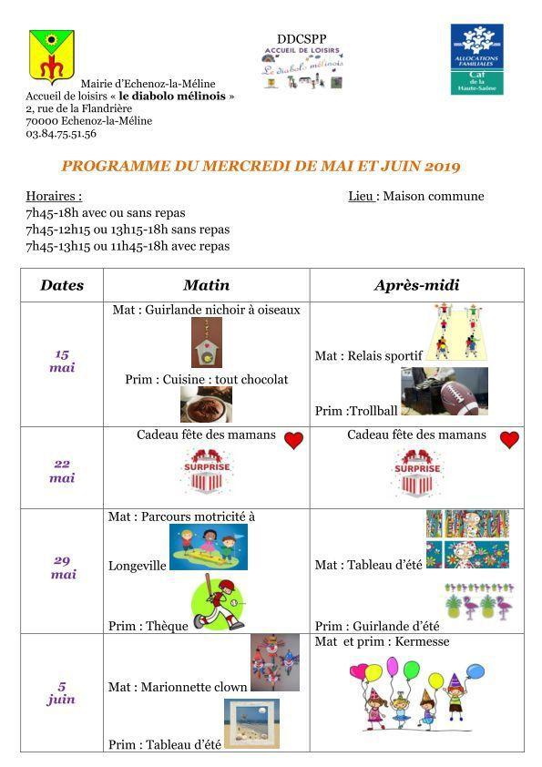 Programme du mercredi de mai et juin 2019