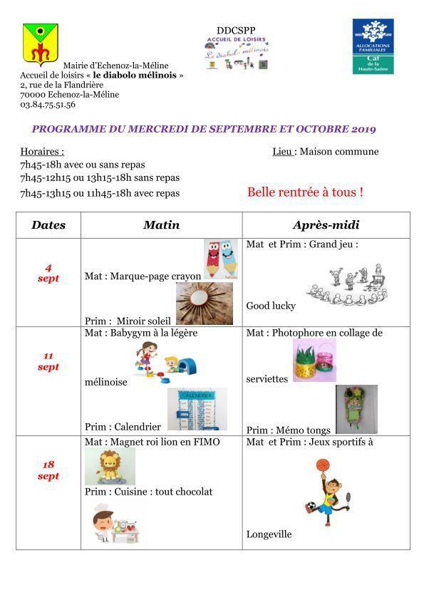 Programme du mercredi de septembre et octobre 2019