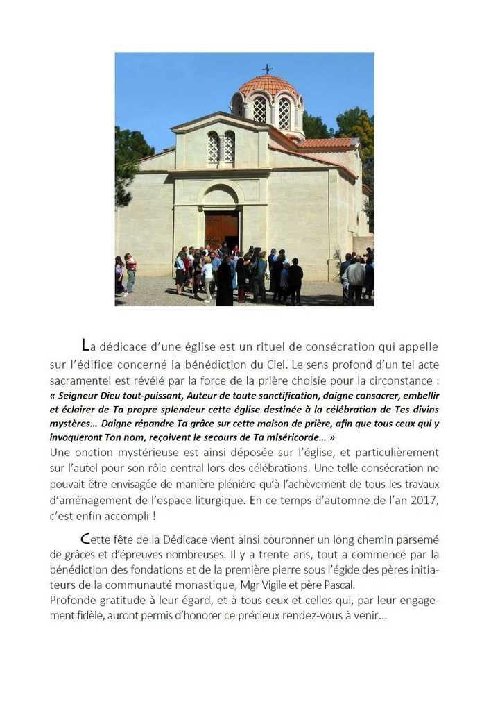 Dédicace de l'Eglise Saint-Michel du Var : 29, 30 septembre & 1er octobre