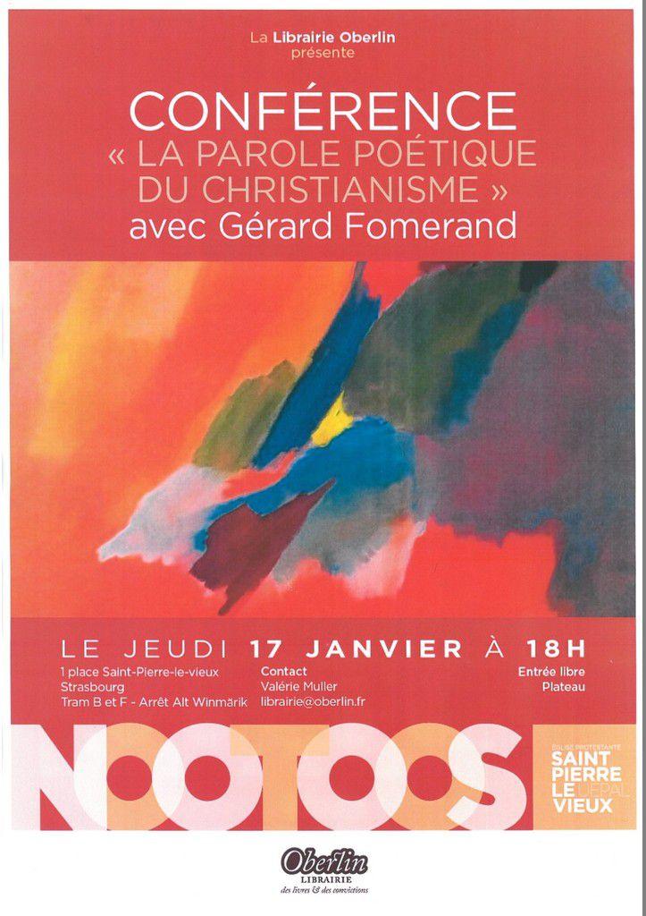 Conférence à Strasbourg : La parole poétique du christianisme (17 janvier)
