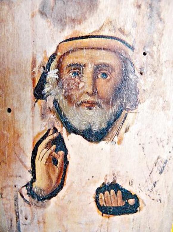 Réapparition du visage de Saint Nicolas sur une icône brûlée (2011)