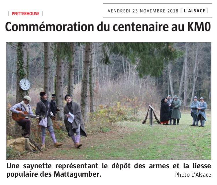 """""""Chansons de poilus"""" - Centenaire de l'armistice 14-18 au Km0 - intervention des Mattagumber (extraits)"""