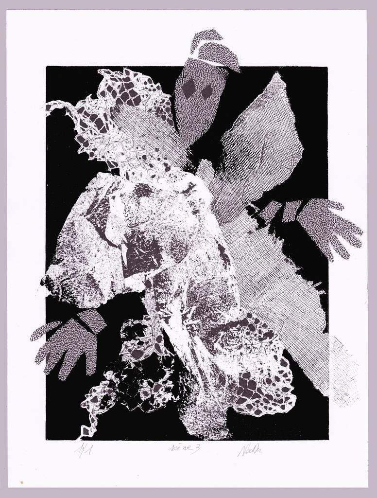 monotype sur papier et collage tissu