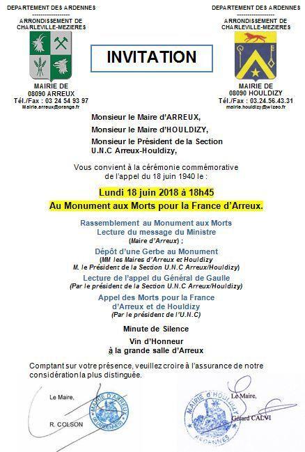 Invitation Cérémonie du 18 Juin 2018
