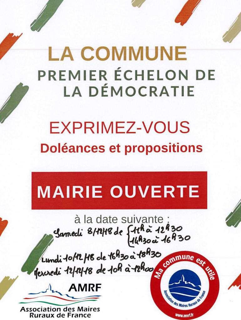 Opération MAIRIE OUVERTE des Maires Ruraux de France