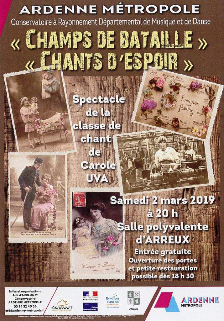 """""""Champs de bataille"""", """"Chants d'Espoir"""", Arreux samedi 2 mars 20h"""