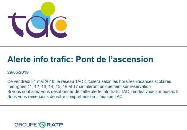 Arreux : Info Bus Pont Ascension 2019