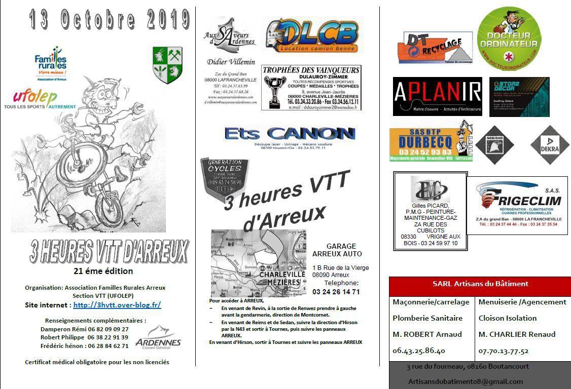 Dimanche 13 Octobre 2019 :  3h VTT d'Arreux de Familles Rurales