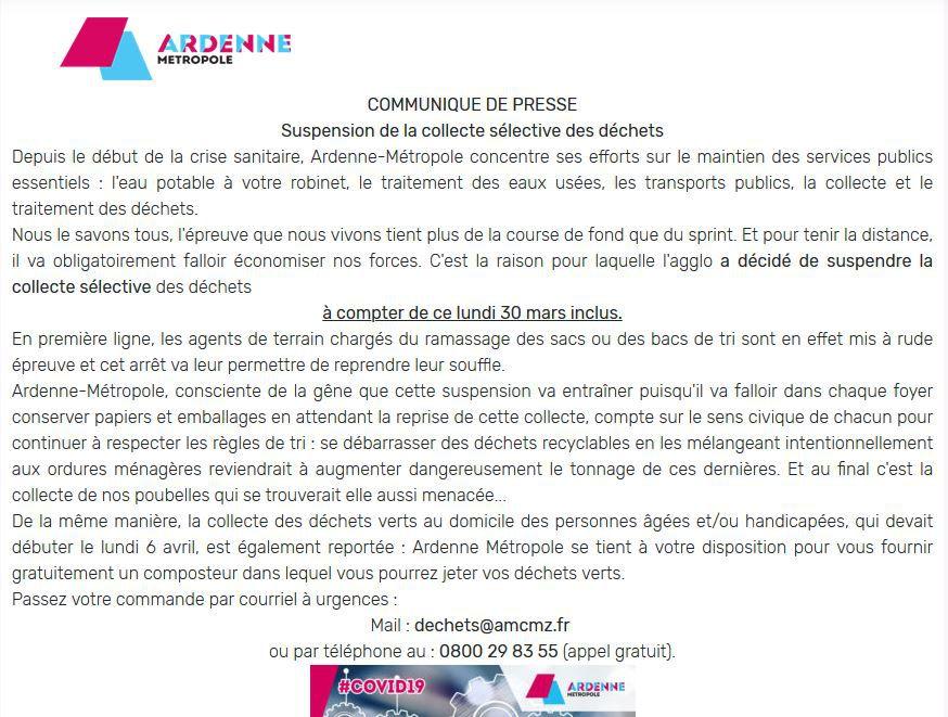 Ardenne-Métropole : Suspension de la Collecte Sélective