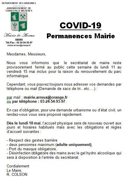Permanences secrétariat de Mairie