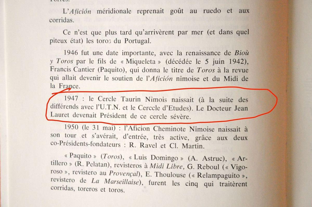 Ephéméride, extrait du livre LES DEBUTS DE LA FERIA DE NÎMES J.Lauret - R.Ravel