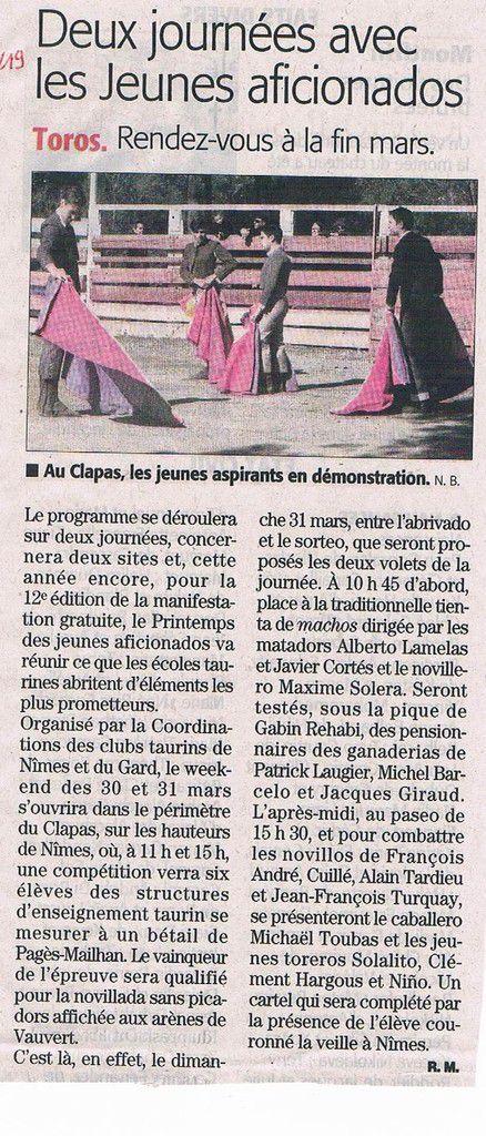 Article du Midi Libre du 19 février 2019