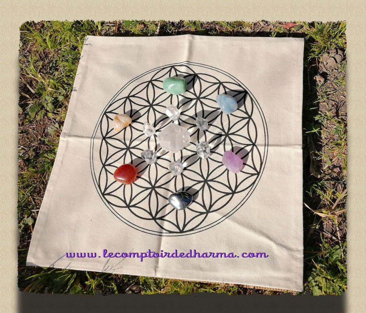 exemple de positionnement de pierres sur la fleur de vie