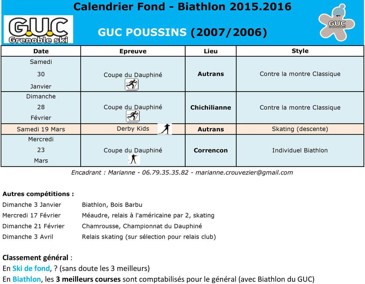 Calendrier Poussins/Poussines U10