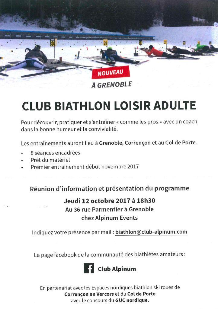 Rappel : Offre Biathlon Adultes, réunion d'information ce jeudi 12 octobre 2017