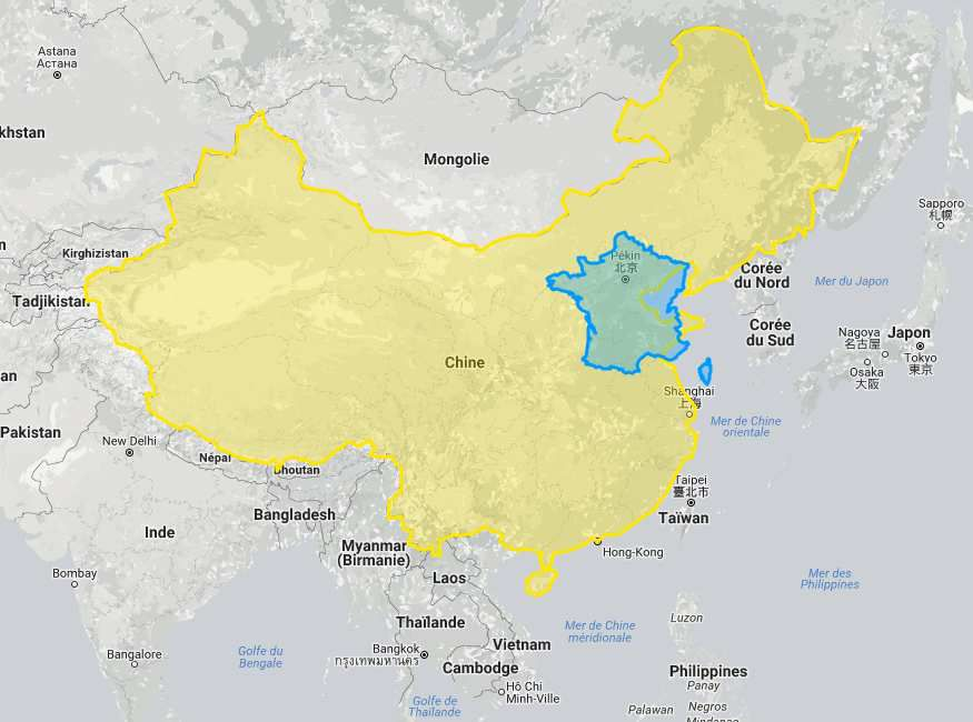comparaison entre la Chine et la France en surface