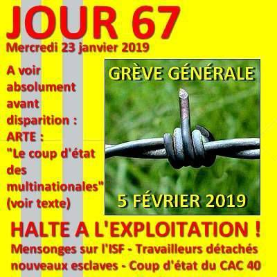 Gilets jaunes - JOUR 67 : ISF - Travailleurs détachés - Coup d'état des multinationales : trois documents incontournables