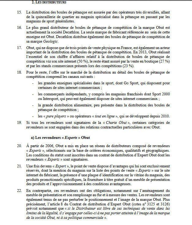 Décision N° 17-D-02 du 10 Février 2017 relative à des pratiques mis en oeuvre dans le secteur des boules de pétanque de compétition